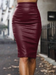 Date Red Zipper Black Slits Bodycon Latex PU High Waisted Party Skirt