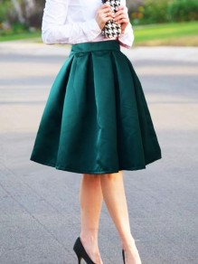 Green Pleated Tutu Homecoming Party Cute Skirt