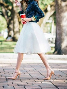 White Pleated Grenadine Tutu High Waisted Homecoming Party Cute Skirt