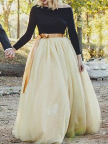 Apricot Grenadine Pleated High Waisted Tulle Tutu Homecoming Party Cute Elegant Long Skirt