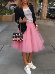 Pink Grenadine Pleated High Waisted Tulle Tutu Homecoming Party Cute Elegant Midi Skirt