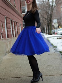 Blue Patchwork Grenadine Pleated High Waisted Tutu Cute Homecoming Party Skirt