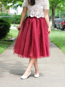 fb7e497d7d Burgundy Maroon Patchwork Grenadine Pleated Plus Size High Waisted Tutu  Cute Homecoming Party Skirt