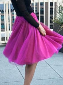 Purple Red Patchwork Grenadine Pleated Plus Size High Waisted Tutu Cute Homecoming Party Skirt