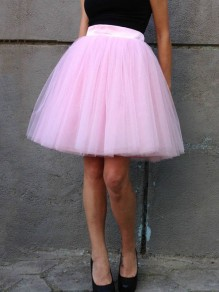 Pink Patchwork Grenadine Pleated Plus Size High Waisted Tutu Cute Homecoming Party Skirt