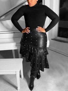 Black Cascading Ruffle Pearl Irregular Latex Vinly Patent Rubber High Waisted Party Skirt