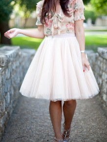 Beige Patchwork Grenadine Pleated High Waisted Homecoming Party Bridesmaid Prom Tulle Midi Skirt