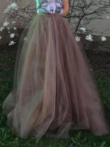 Pink Grenadine Pleated High Waisted Tulle Tutu Homecoming Chirstmas Party Vintage Elegant Skirt