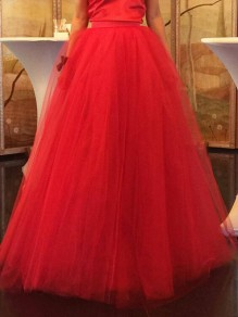 Red Grenadine Pleated High Waisted Tulle Tutu Homecoming Chirstmas Wedding Party Vintage Skirt