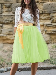 0f2e0717ad Yellow Patchwork Grenadine Pleated Plus Size High Waisted Tutu Cute  Homecoming Party Skirt