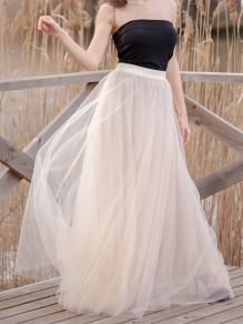 Apricot Draped Pleated Grenadine High Waisted Elegant Skirt