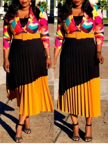 Yellow Pleated High Waisted Elegant Party Skirt