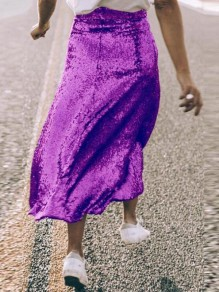 Purple Sequin Glitter Draped High Waisted Sparkly Flare NYE Birthday Party Maxi Skirt