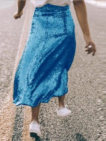 Light Blue Sequin Glitter Draped High Waisted Sparkly Flare NYE Birthday Party Skirt