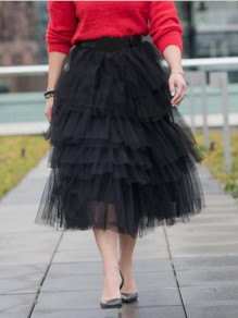 Black Grenadine Cascading Ruffle Fluffy Puffy Tulle High Waisted Cupcake Long Skirt