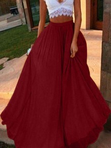 Wine Red Draped High Waisted Fashion Party Chiffon Skirt
