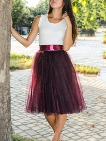 Wine Red Grenadine Draped Sashes Bow High Waisted Elegant Skirt