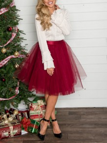 Burgundy Grenadine Fluffy Puffy Tulle High Waisted New Year's Eve Party Skirt