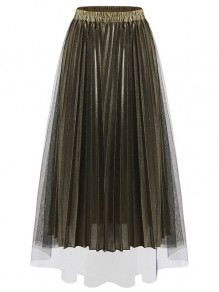 27cda00f4f Golden Patchwork Grenadine Pleated High Waisted Party Skirt