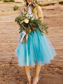 Baby Blue Grenadine Plus Size High Waisted Skater Tutu Homecoming Party Midi Skirt