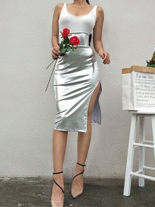 Silver Slit High Waisted Fashion Cocktail Party Skirt
