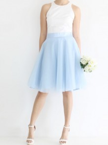 Blue Grenadine Pleated Adorable Tutu High Waisted Elegant Going out Tulle Skirt