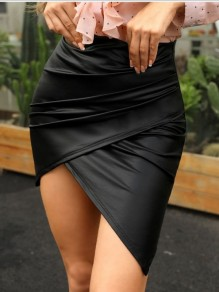 db97c4dc83 Black Pleated Irregular Bodycon High-Low PU Leather Latex Bubble Vinly High  Waisted Party Skirt