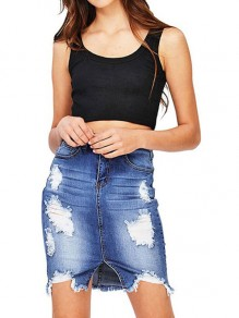 Blue Cut Out Distressed Ripped Side Slit Denim Ttrendy Daily Short Skirts
