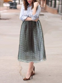Black Patchwork Lace Pleated High Waisted Party Long Skirt