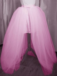 Pink Patchwork Grenadine Bowknot Belt High Waisted Wedding Banquet Party Long Skirt