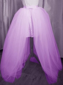 Purple Patchwork Grenadine Bowknot Belt High Waisted Wedding Banquet Party Long Skirt
