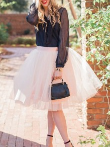 3c0b47ab2 White Patchwork Grenadine Pleated High Waisted Party Skirt