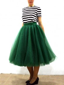 a77ced3267 Dark Green Grenadine Pleated High Waisted Tulle Tutu Homecoming Bridesmaid  Party Cute Elegant Midi Skirt