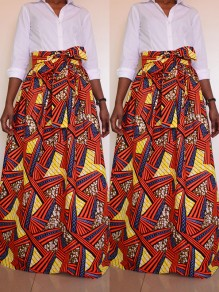 Red Africa Print Pockets Belt Plus Size National Maxi Skirt