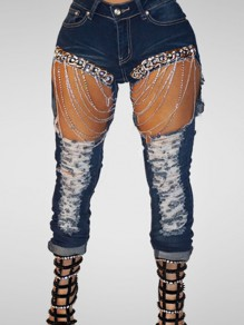 Blue Hole Cut Out Silver Chain High Waisted Pencil Ripped Jeans