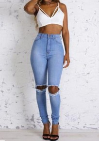 Light Blue Plain Cut Out Fashion High Waisted Skinny Pencil Ripped Jeans