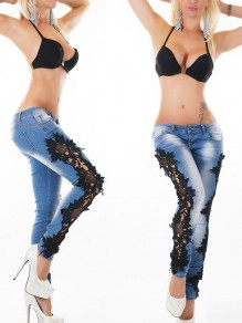 Blue Patchwork Lace Hollow-out Buttons Mid-rise Casual Slim Long Jeans
