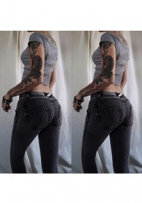 Dark Grey Pockets Buttons Cut Out Casual Long Jeans