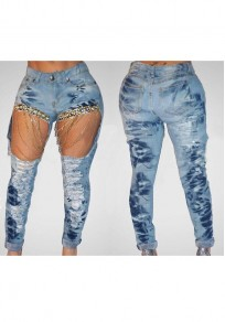 Blue Patchwork Chain Cut Out Pockets Ripped High Waisted Fashion Long Jeans