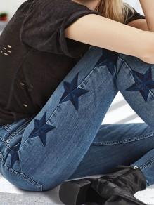 Blue Star Print Pockets Buttons Boyfriend Skinny Pencil Jeans