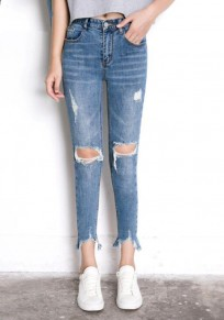 Blue Zipper Pockets Cut Out Ripped Distressed Denim Mid-rise Nine's Jeans