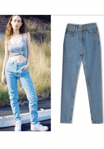 Light Blue Zipper Pockets Going Out High Waisted Casual Skinny Long Jeans