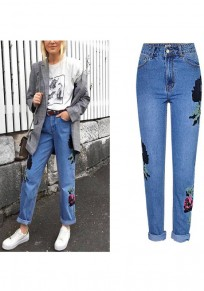 Blue Floral Zipper Pockets High Waist Boyfriend Long Jeans