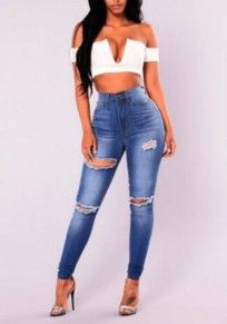 Blue Zipper Ripped Destroyed Ripped Distressed Denim High Waist Long Jeans