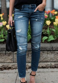 Light Blue Pockets Zipper Mid-rise Long Jeans