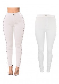 White High Waisted Slit Slit Lace-up Casual Slim Jeans