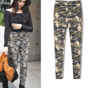 Army Green Camouflage Buttons Cut Out Fashion Long Jeans