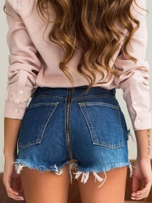 Dark Blue Back Zipper Tassel High Waisted Fashion Push Up Short Jeans Denim Shorts