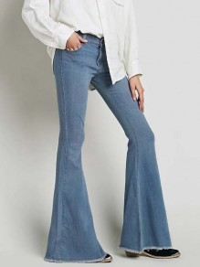 Light Blue Pockets Buttons High Waisted Mom Boyfriend Flare Denim Pants