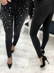 Black Mosaic Pearl Beading Beaded High Waisted Casual Long Jeans
